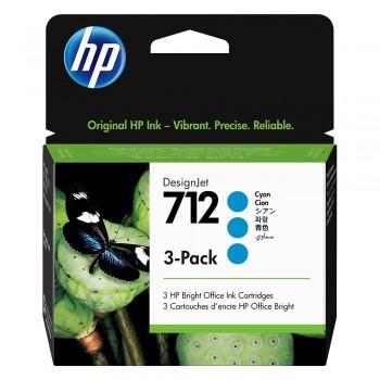HP 712 Cyan DesignJet Ink Cartridge 3-Pack