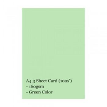 A4 3 Sheet Card 160gsm 100s' (Green)
