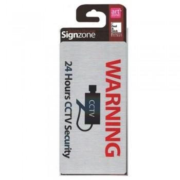 Signzone Peel & Stick Metallic Sticker - 24 Hours CCTV Security (Item No: R01-58)