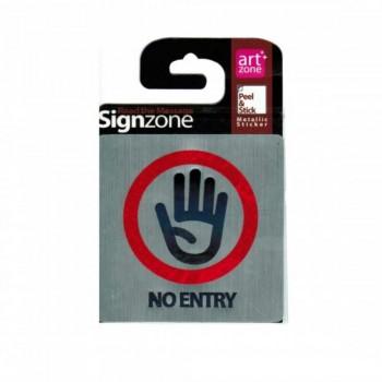Signzone Peel & Stick Metallic Sticker - NO ENTRY (Item No: R01-01 NOENTRY)