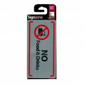 Signzone Peel & Stick Metallic Sticker - NO Food & Drinks (Item No: R01-65)