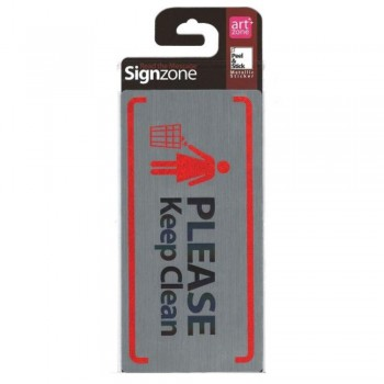 Signzone Peel & Stick Metallic Sticker - PLEASE Keep Clean (Item No: R01-76)