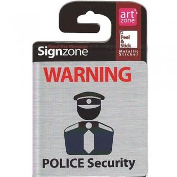 Signzone Peel & Stick Metallic Sticker - POLICE Security (Item No: R01-01POLICESER)