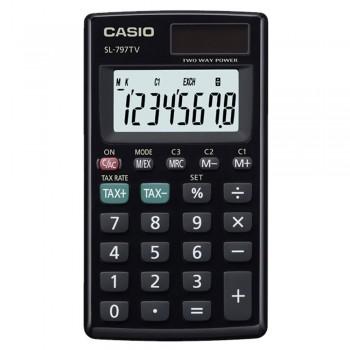 Casio Portable Pocket Type Calculator - 8 Digits, Solar & Battery, Large Display, Tax & Exchange, Profit Margins, Black (SL-797TV-BK)