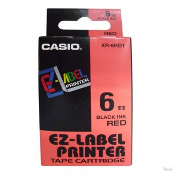 Casio Ez-Label Tape Cartridge - 6mm, Black on Red (XR-6RD1)