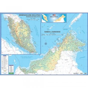 """Map Of Malaysia M206M – East & West (Magnetic) H42"""" x W58"""""""