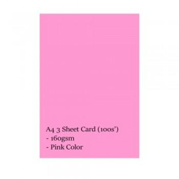 A4 3 Sheet Card 160gsm 100s' (Pink)