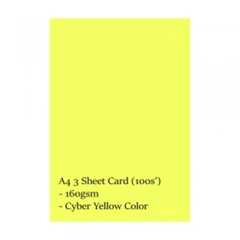 A4 3 Sheet Card 160gsm 100s' (Cyber Yellow)