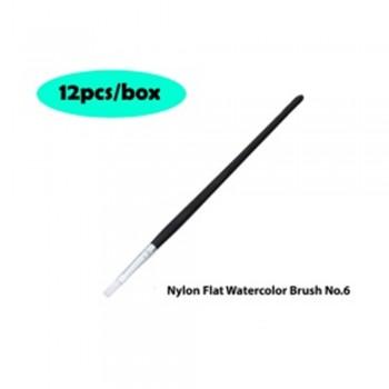 Nylon Flat Watercolor Brush No.6 - 12pcs/box